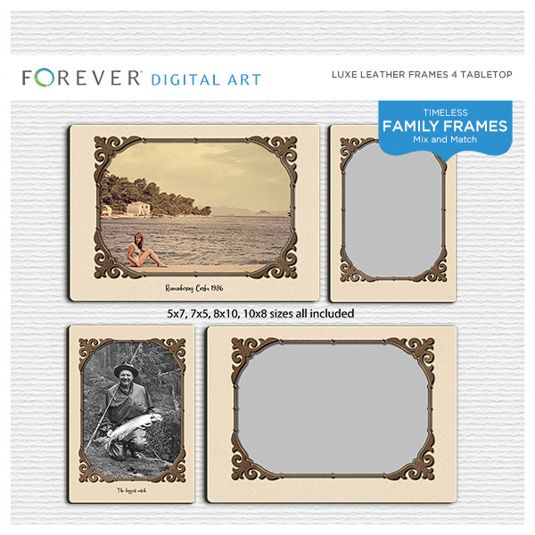 Luxe Leather Frames 4 Tabletop Digital Art - Digital Scrapbooking Kits