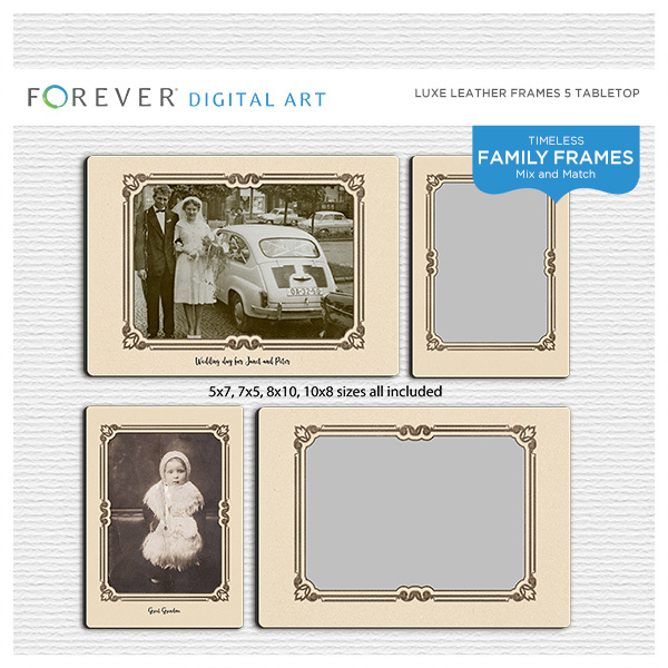 Luxe Leather Frames 5 Tabletop Digital Art - Digital Scrapbooking Kits