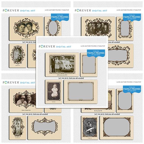 Luxe Leather Frames Bundle Tabletop Digital Art - Digital Scrapbooking Kits