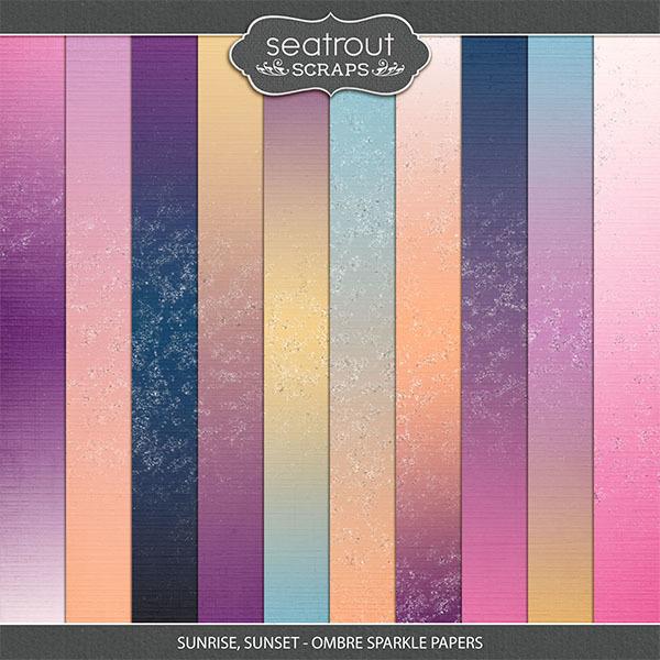 Sunrise, Sunset Ombre Sparkle Papers Digital Art - Digital Scrapbooking Kits