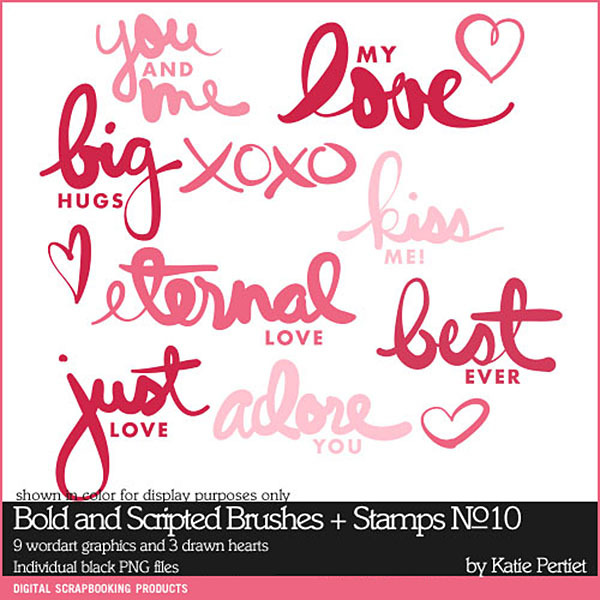 Bold and Scripted Brushes and Stamps 10 Digital Art - Digital Scrapbooking Kits