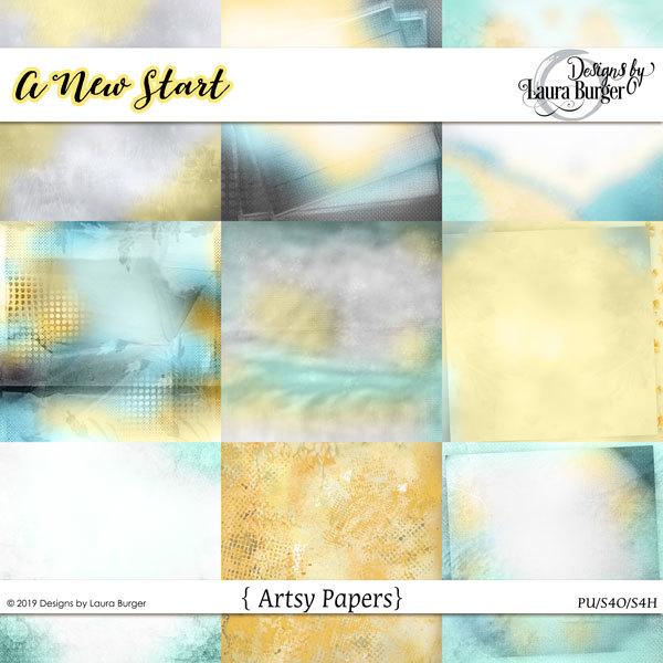 A New Start Artsy Papers Digital Art - Digital Scrapbooking Kits