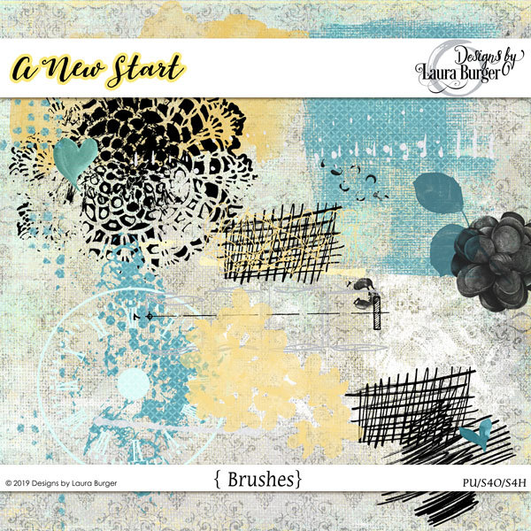 A New Start Brush Set Digital Art - Digital Scrapbooking Kits