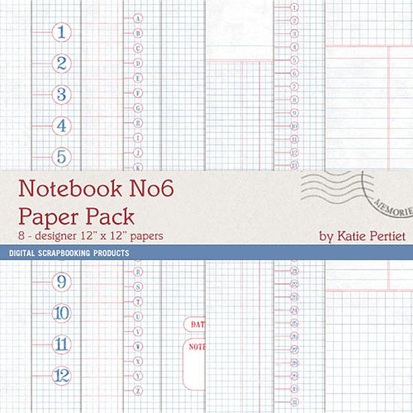 Notebook Paper Pack 06 Digital Art - Digital Scrapbooking Kits