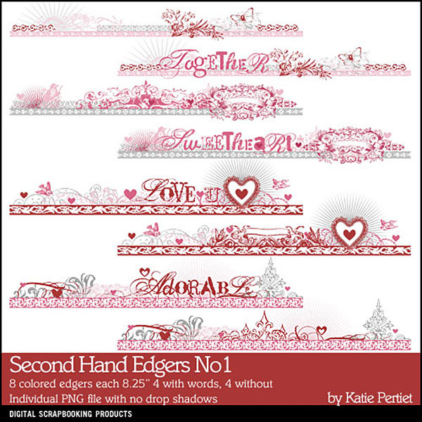 Second Hand Edgers 01 Digital Art - Digital Scrapbooking Kits
