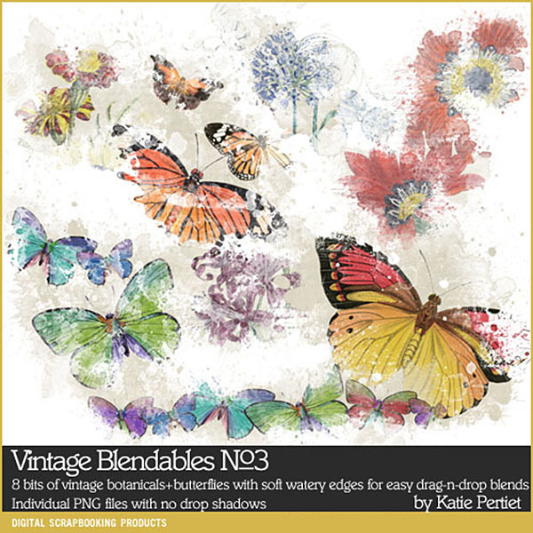 Vintage Blendables 03 Digital Art - Digital Scrapbooking Kits