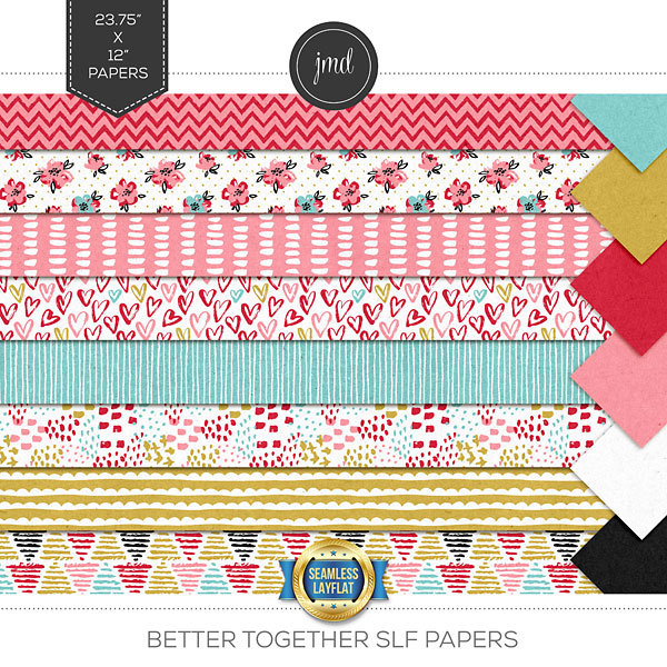 Better Together SLF Papers Digital Art - Digital Scrapbooking Kits