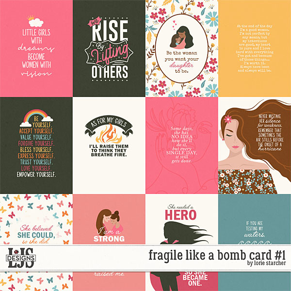 Fragile Like A Bomb Cards 1 Digital Art - Digital Scrapbooking Kits