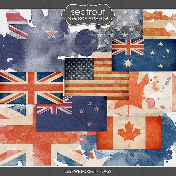 Lest We Forget - Flags Digital Art - Digital Scrapbooking Kits