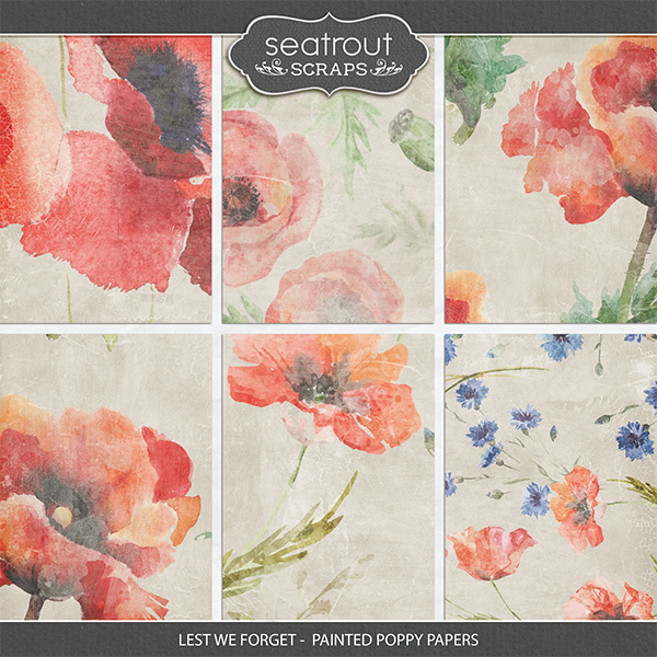 Lest We Forget - Painted Poppy Papers Digital Art - Digital Scrapbooking Kits