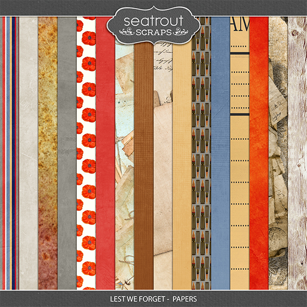 Lest We Forget - Papers Digital Art - Digital Scrapbooking Kits