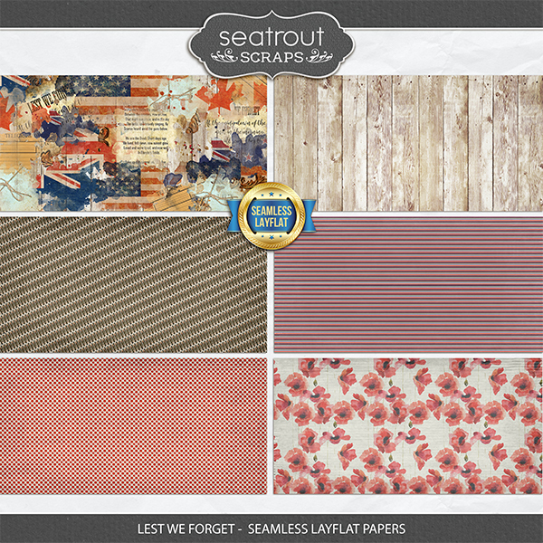 Lest We Forget - Seamless Layflat Papers Digital Art - Digital Scrapbooking Kits