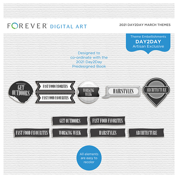 2021 Day2Day March Themes Digital Art - Digital Scrapbooking Kits