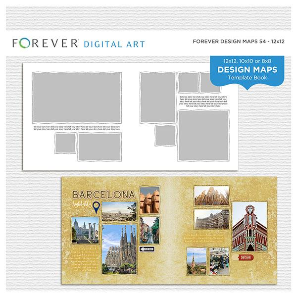 Forever Design Maps 54 - 11x8.5 Digital Art - Digital Scrapbooking Kits