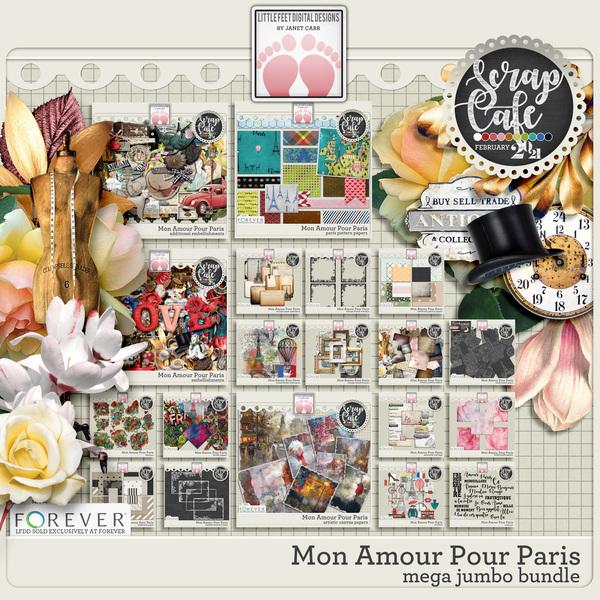 Mon Amour Pour Paris Mega Jumbo Bundle Digital Art - Digital Scrapbooking Kits