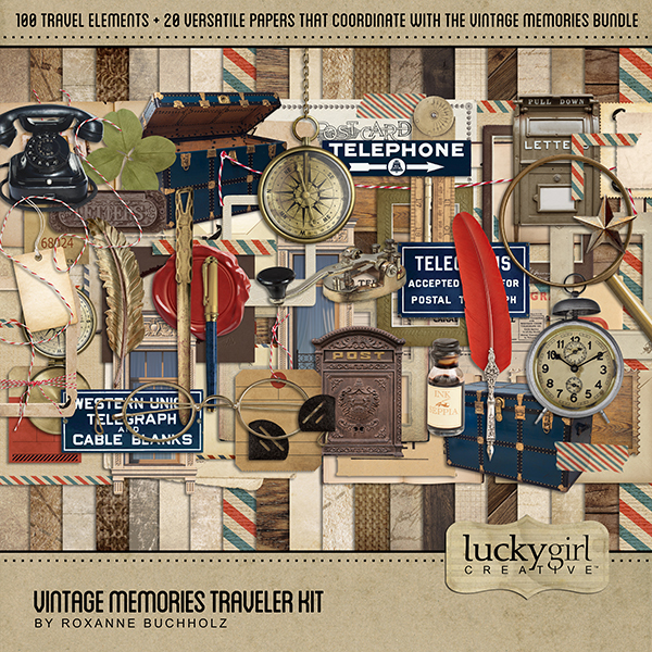 Vintage Memories Traveler Kit Digital Art - Digital Scrapbooking Kits