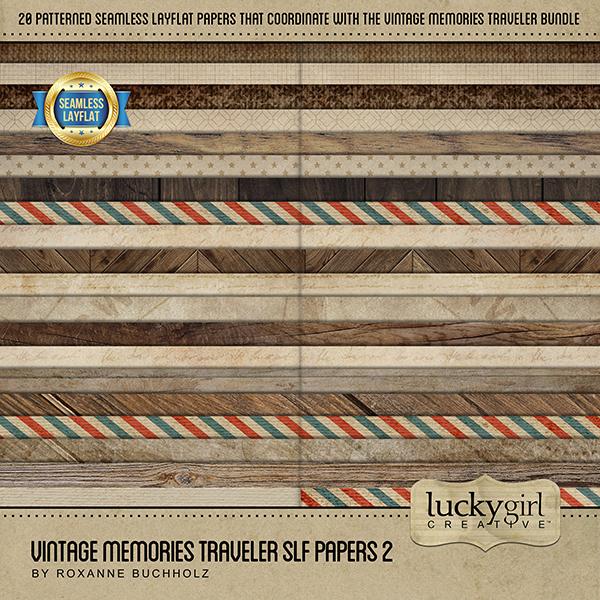 Vintage Memories Traveler SLF Papers 2 Digital Art - Digital Scrapbooking Kits