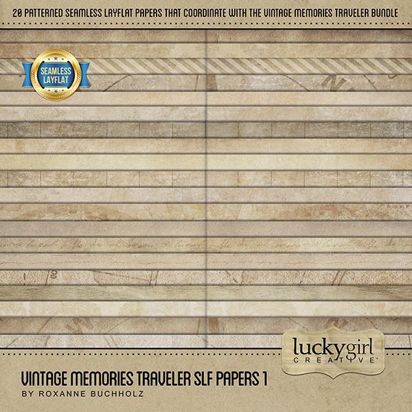 Vintage Memories Traveler SLF Papers 1 Digital Art - Digital Scrapbooking Kits