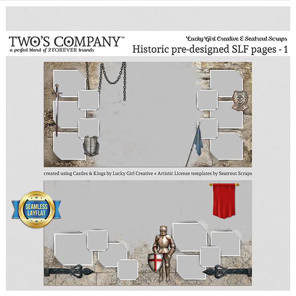 Historic pre-designed SLF pages - 1 Digital Art - Digital Scrapbooking Kits