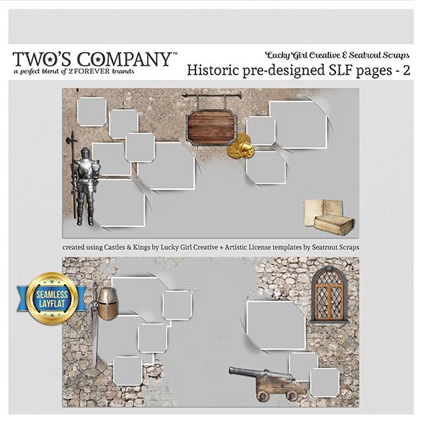 Historic pre-designed SLF pages - 2 Digital Art - Digital Scrapbooking Kits