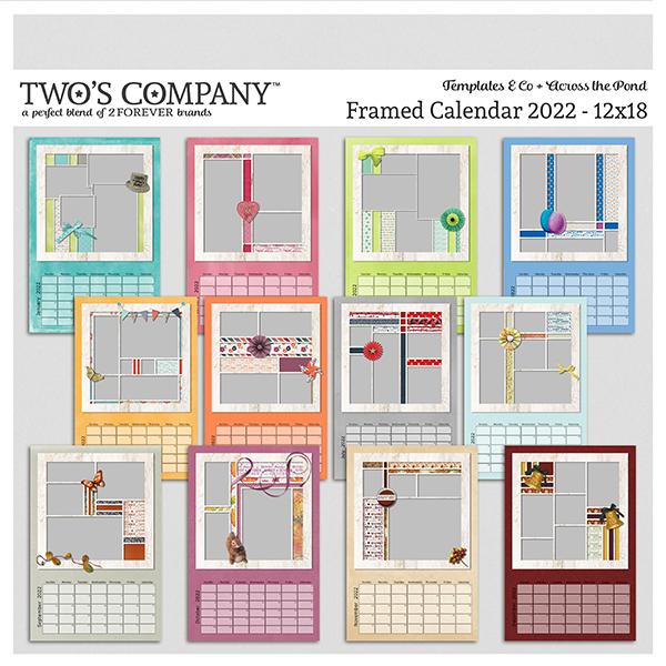 Framed Calendar 2022 - 12x18 Digital Art - Digital Scrapbooking Kits