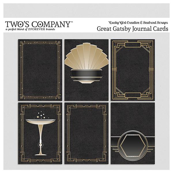 Great Gatsby Journal Cards Digital Art - Digital Scrapbooking Kits