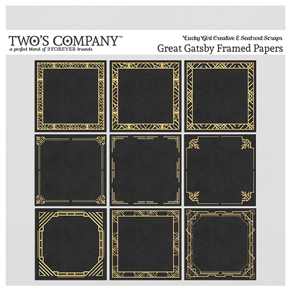 Great Gatsby Framed Papers Digital Art - Digital Scrapbooking Kits