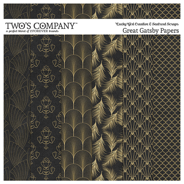 Great Gatsby Papers Digital Art - Digital Scrapbooking Kits