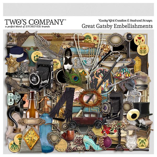 Great Gatsby Embellishments Digital Art - Digital Scrapbooking Kits