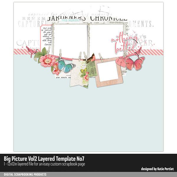 Big Picture Vol. 02 Layered Template 07 Digital Art - Digital Scrapbooking Kits