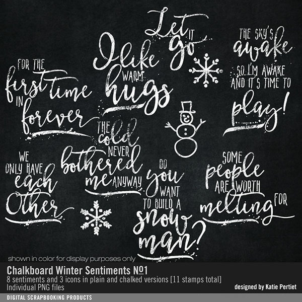 Chalkboard Winter Sentiments Brushes and Stamps 01 Digital Art - Digital Scrapbooking Kits
