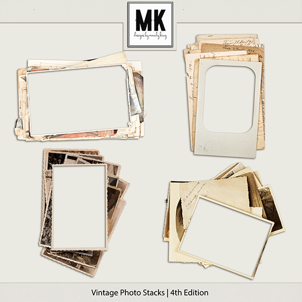 Vintage Photo Stacks 4 Digital Art - Digital Scrapbooking Kits