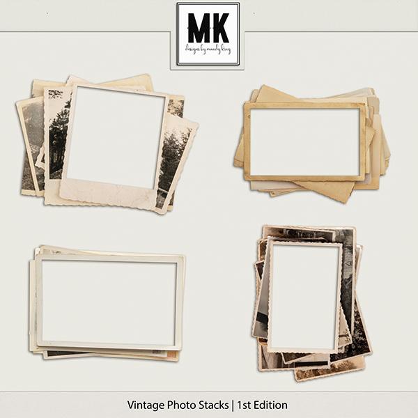 Vintage Photo Stacks 1 Digital Art - Digital Scrapbooking Kits