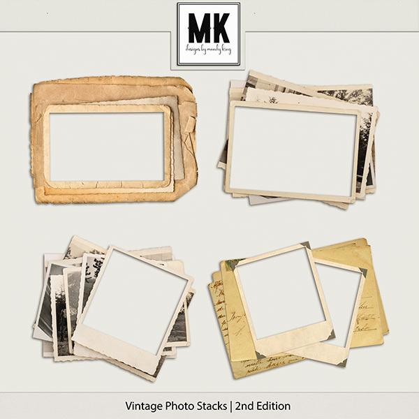 Vintage Photo Stacks 2 Digital Art - Digital Scrapbooking Kits
