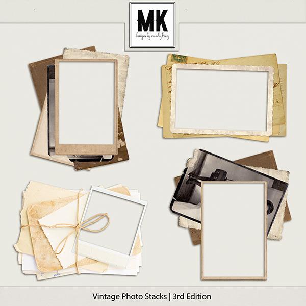 Vintage Photo Stacks 3 Digital Art - Digital Scrapbooking Kits