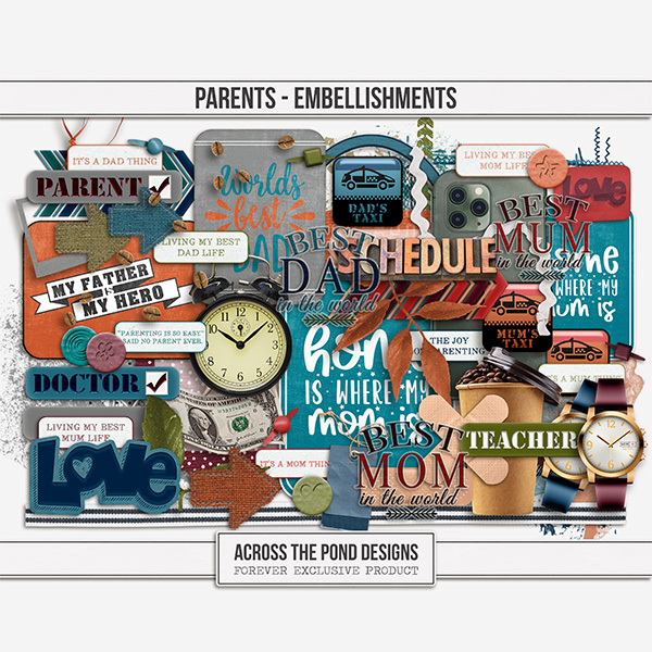 Parents - Embellishments Digital Art - Digital Scrapbooking Kits