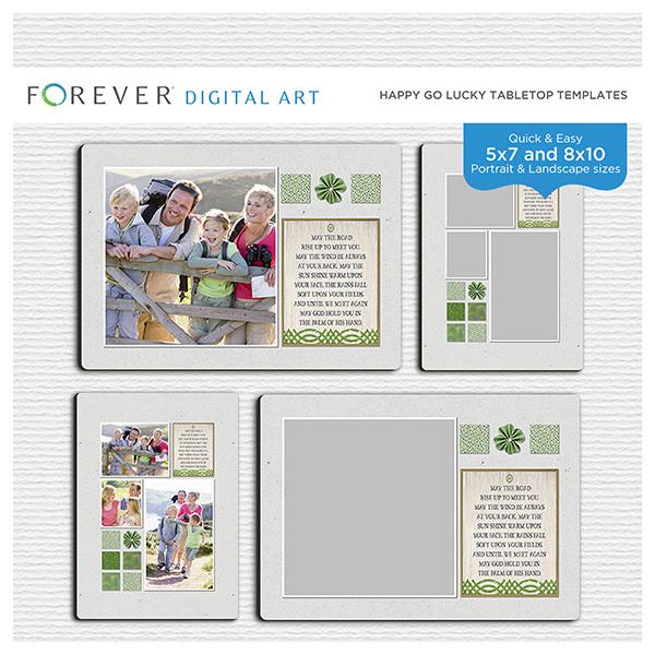 Happy Go Lucky Tabletop Templates Digital Art - Digital Scrapbooking Kits