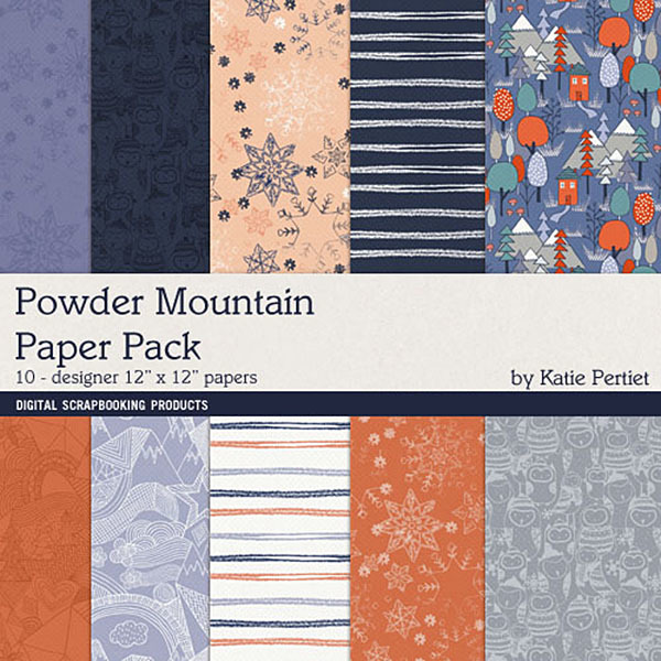 Powder Mountain Paper Pack Digital Art - Digital Scrapbooking Kits