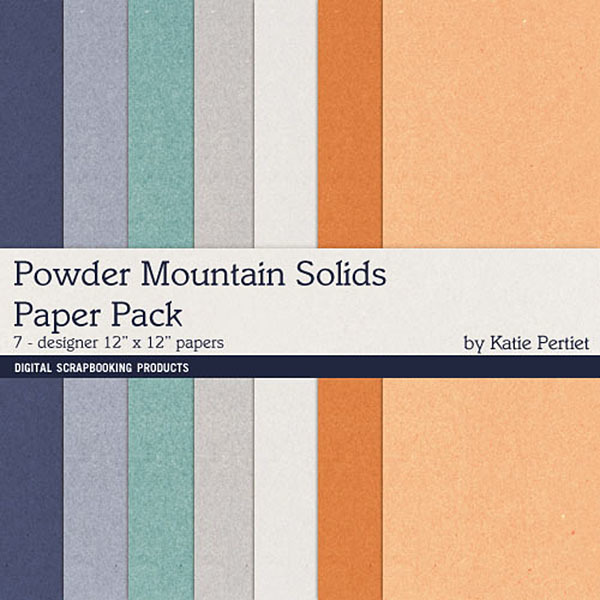 Powder Mountain Solids Paper Pack Digital Art - Digital Scrapbooking Kits