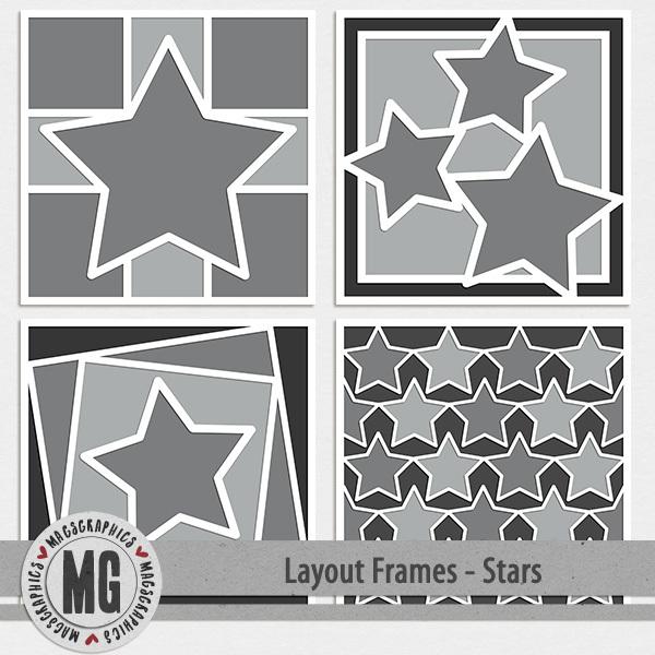 Layout Frames - Stars Digital Art - Digital Scrapbooking Kits