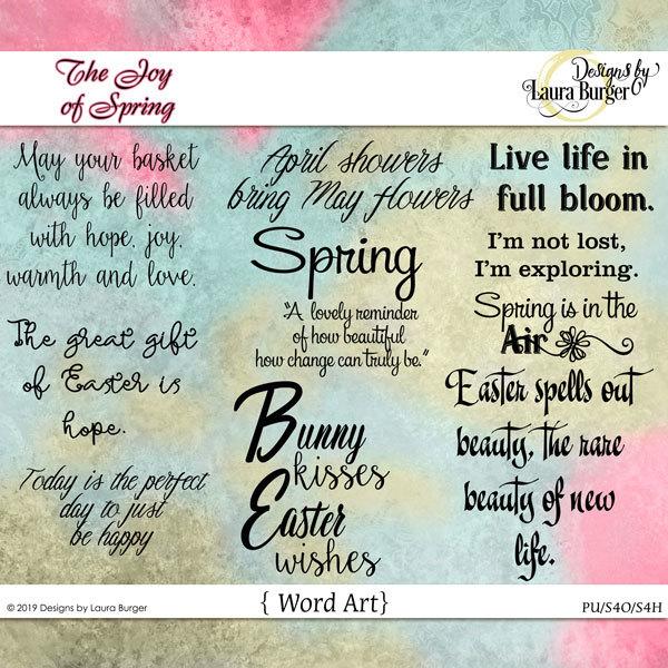 The Joy Of Spring Word Art Digital Art - Digital Scrapbooking Kits