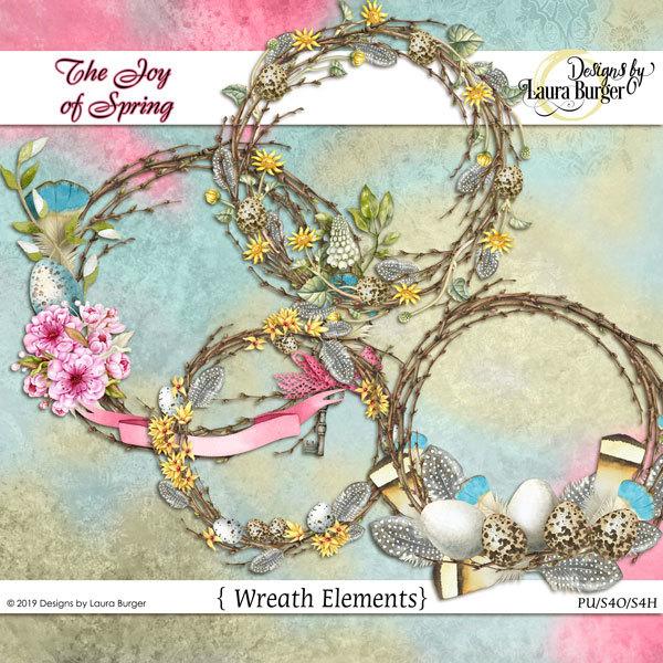 The Joy of Spring Wreaths Digital Art - Digital Scrapbooking Kits