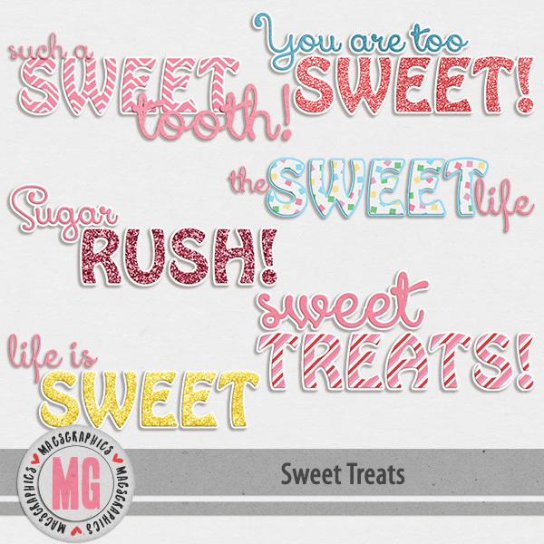 Sweet Treats Word Art Digital Art - Digital Scrapbooking Kits