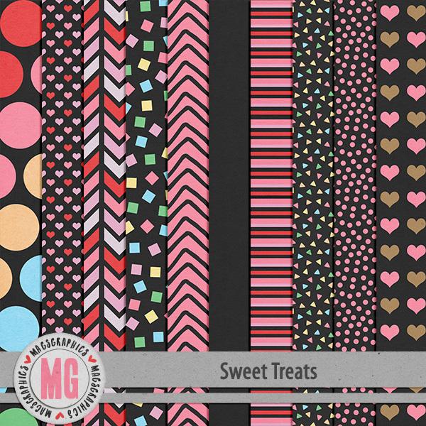 Sweet Treats Black Papers Digital Art - Digital Scrapbooking Kits