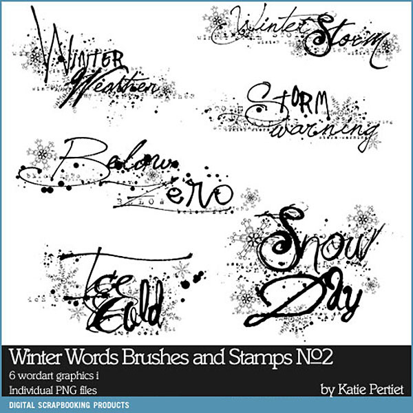 Winter Words Brushes and Stamps 02 Digital Art - Digital Scrapbooking Kits