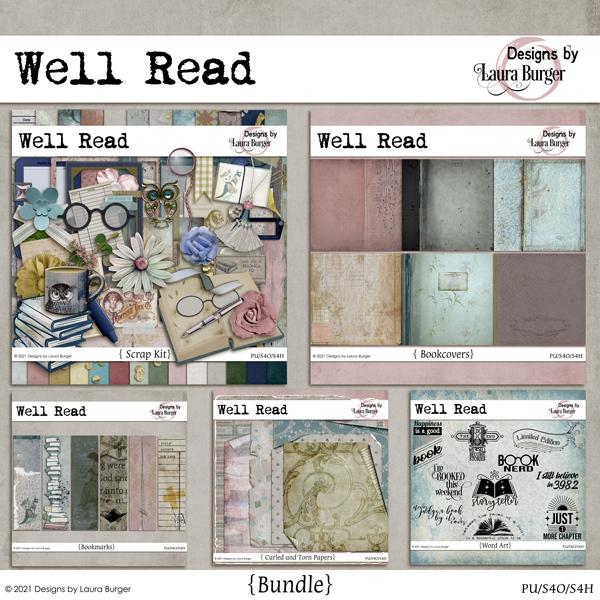 Well Read Bundle Digital Art - Digital Scrapbooking Kits