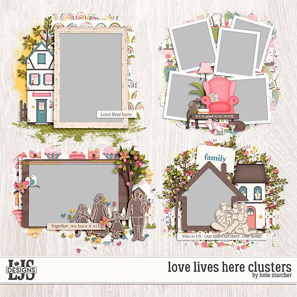 Love Lives Here Clusters Digital Art - Digital Scrapbooking Kits