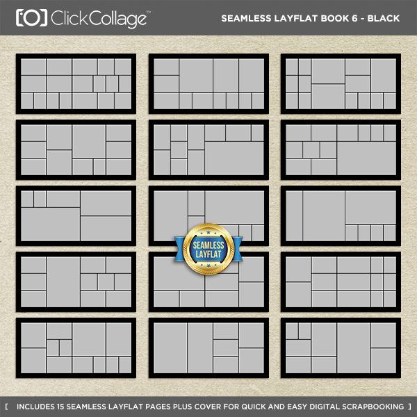 Seamless Layflat Book 6 - Black Digital Art - Digital Scrapbooking Kits