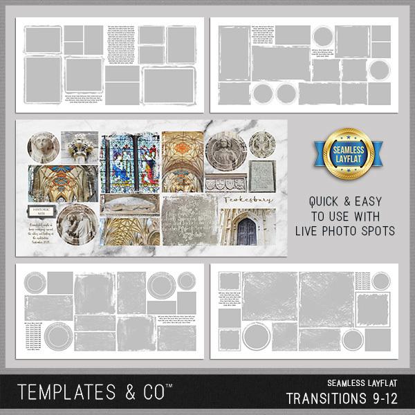 Seamless Layflat Transitions  9-12 Digital Art - Digital Scrapbooking Kits