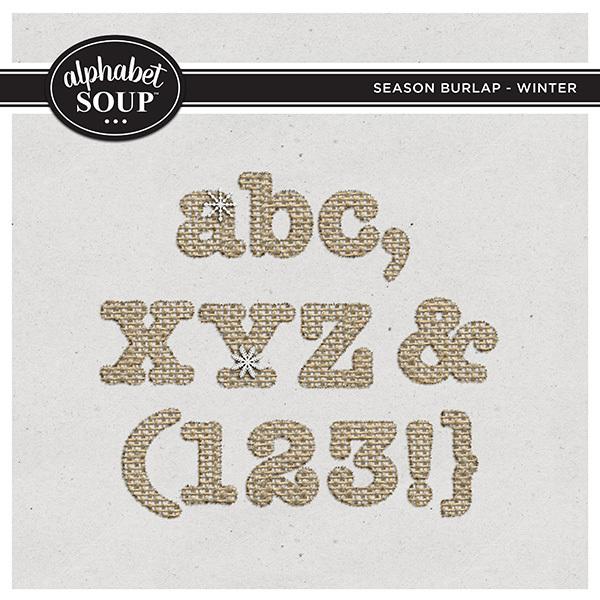 Season Burlap - Winter Alpha Digital Art - Digital Scrapbooking Kits